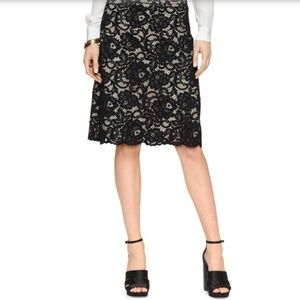 Kate Spade Black Beige Lace Floral A-Line Skirt 2